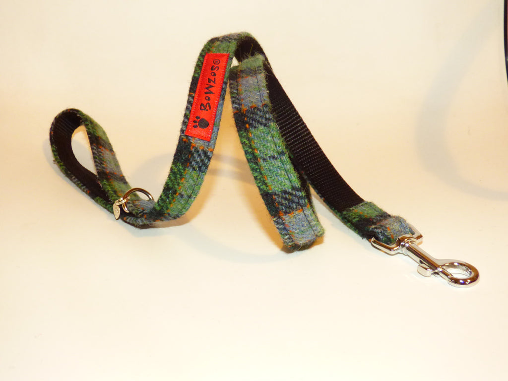 Harris Tweed Dog Lead - Grass Green Check - BOWZOS