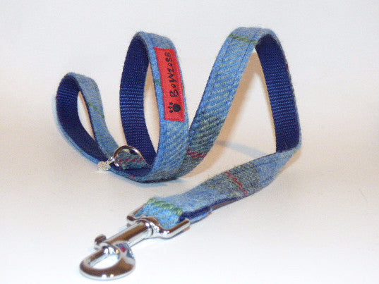 (Skye) Harris Tweed Dog Lead - Blue/Grey Check - BOWZOS