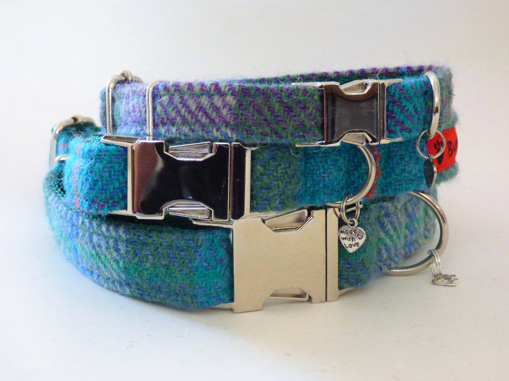 (Thistle) Harris Tweed Dog Collar -  Green Check - BOWZOS