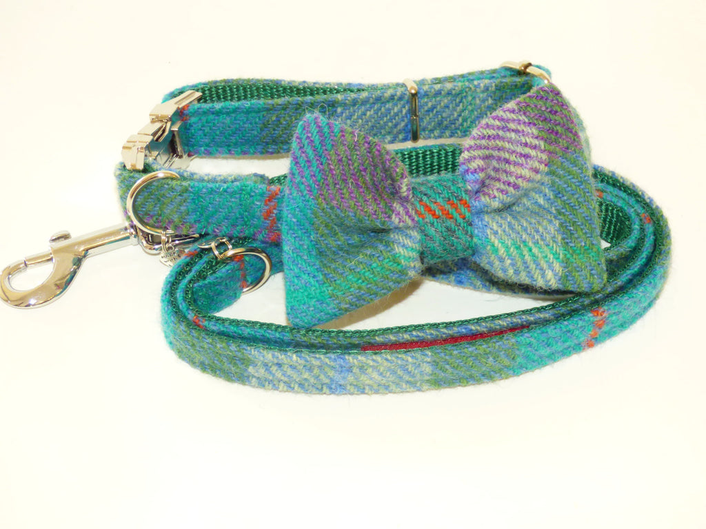 (Thistle) Harris Tweed Bow Tie Dog Collar & Lead Set - Green Check - BOWZOS