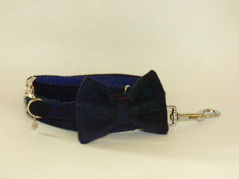 (Black Watch) Harris Tweed Bow Tie Dog Collar & Lead Set - Black Watch Tartan - BOWZOS