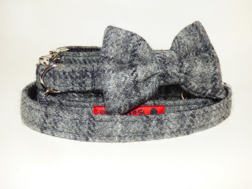 (Greyfriars) Harris Tweed Bow Tie Dog Collar & Lead Set - Grey Check - BOWZOS