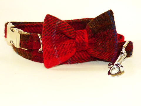 (Blair) Harris Tweed Bow Tie Dog Collar & Lead Set - Dark Red Check - BOWZOS