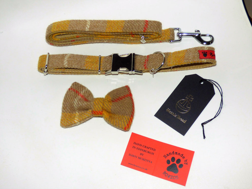 (Urquhart) Harris Tweed Bow Tie Dog Collar & Lead Set - Mustard & Beige Check - BOWZOS