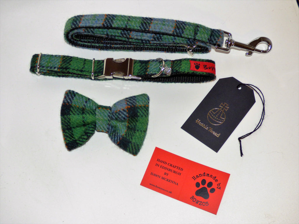 Harris Tweed Bow Tie Dog Collar & Lead Set - Grass Green Check - BOWZOS
