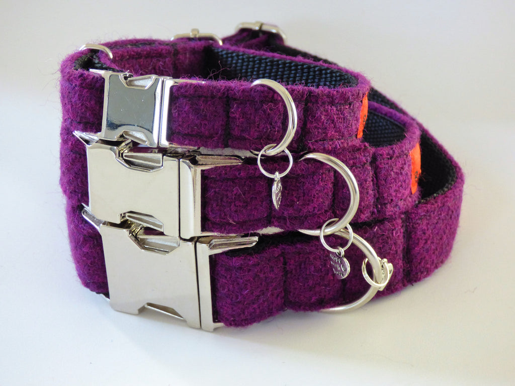 (Caledonian) Harris Tweed Dog Collar  - Dark Purple - BOWZOS