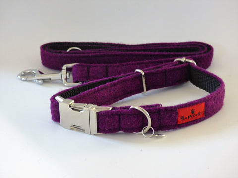 (Caledonian) Harris Tweed Dog Collar & Lead Set - Dark Purple - BOWZOS