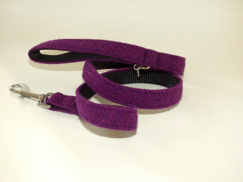 (Caledonian) Harris Tweed Dog Lead - Dark Purple - BOWZOS