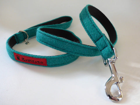 (Dalmahoy) Harris Tweed Dog Lead - Jade - BOWZOS