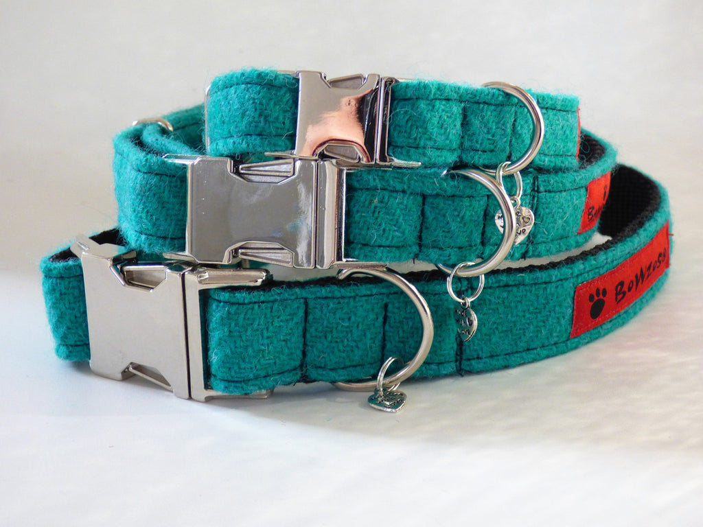 (Dalmahoy) Harris Tweed Dog Collar - Jade - BOWZOS