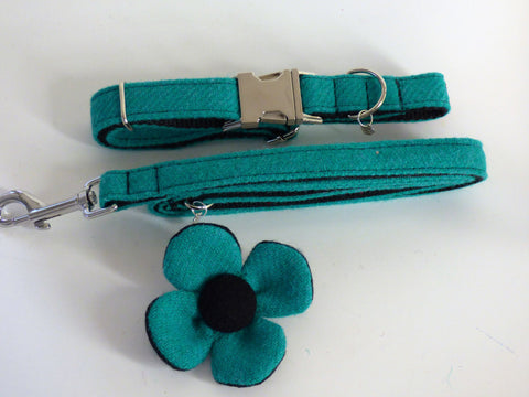 (Dalmahoy) Harris Tweed Flower Dog Collar & Lead Set - Jade - BOWZOS
