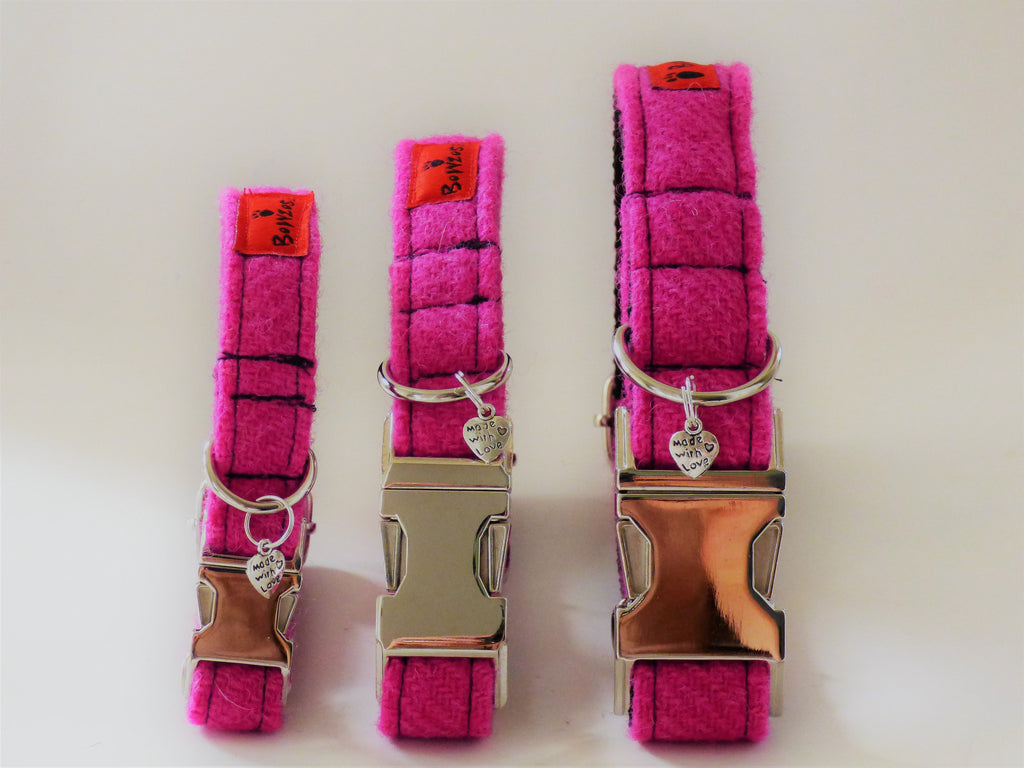 (Roxburghe) Harris Tweed Dog Collar  - Bubblegum Pink - BOWZOS