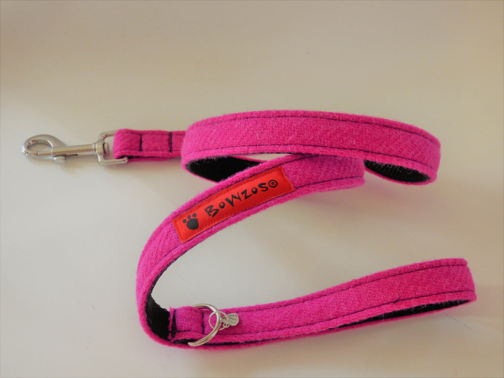 (Roxburghe) Harris Tweed Dog Lead - Bubblegum Pink - BOWZOS