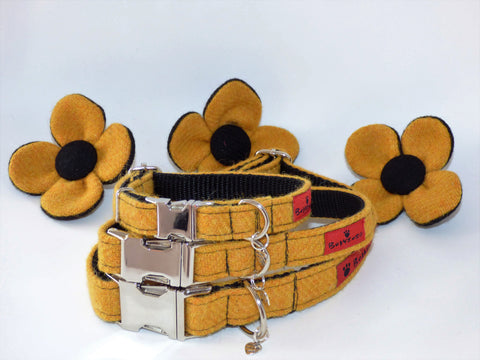 (Cairn) Harris Tweed Flower Dog Collar - Citrus Yellow - BOWZOS