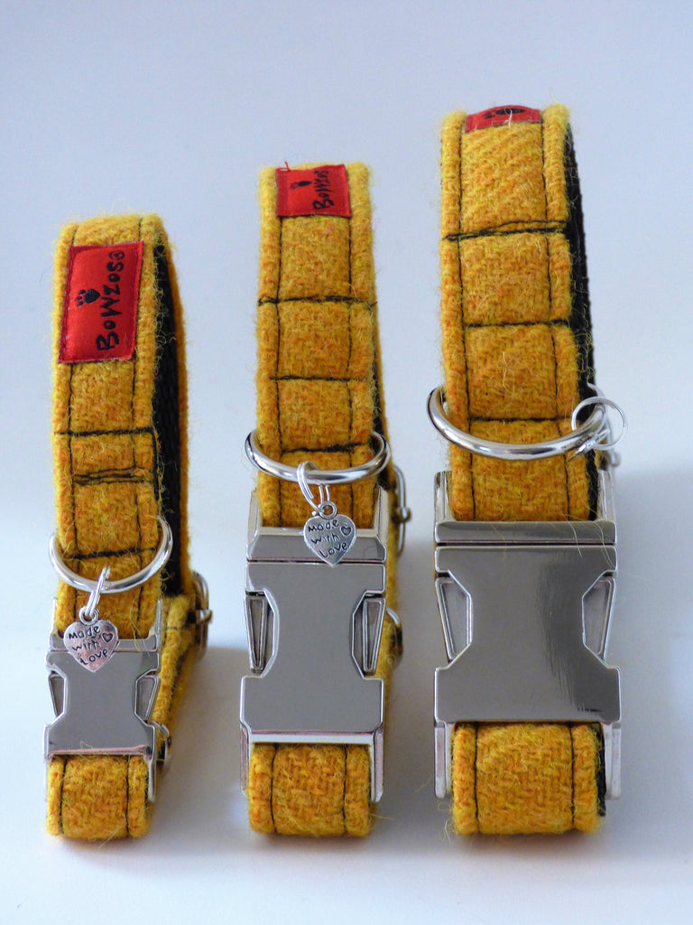 (Cairn) Harris Tweed Dog Collar & Lead Set - Citrus Yellow - BOWZOS