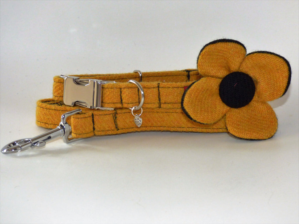 (Cairn) Harris Tweed Flower Dog Collar & Lead Set - Citrus Yellow - BOWZOS