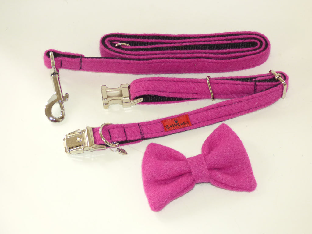 (Roxburghe) Harris Tweed Bow Tie Dog Collar & Lead Set - Bubble Gum Pink - BOWZOS