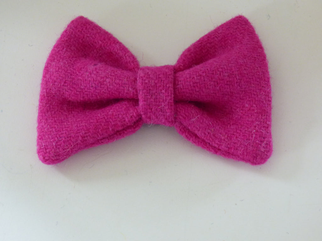 (Roxburghe) Bowzos Bow - Harris Tweed Bubblegum Pink - BOWZOS