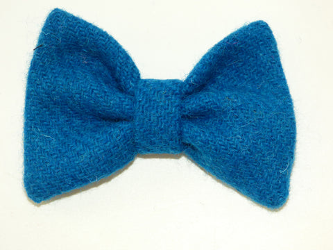 (Bonnie) Bowzos Bow - Harris Tweed Blue - BOWZOS