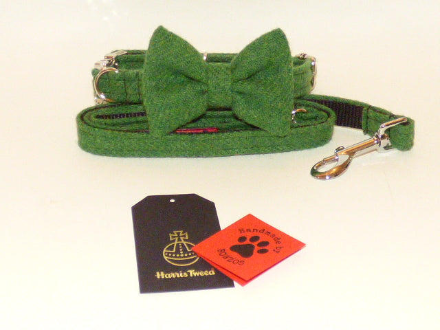(Evergreen) Harris Tweed Bow Tie Dog Collar & Lead Set - Green - BOWZOS