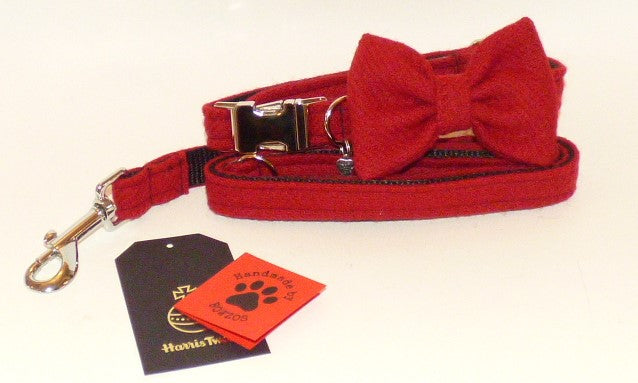 (Cranberry) Harris Tweed Bow Tie Dog Collar & Lead Set - BOWZOS