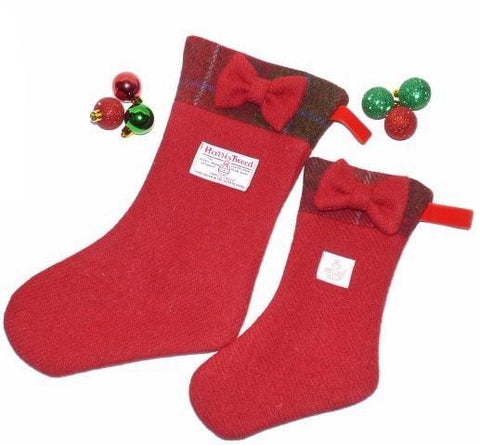 Bowzos Harris Tweed Christmas Stocking with Bow - Red - BOWZOS
