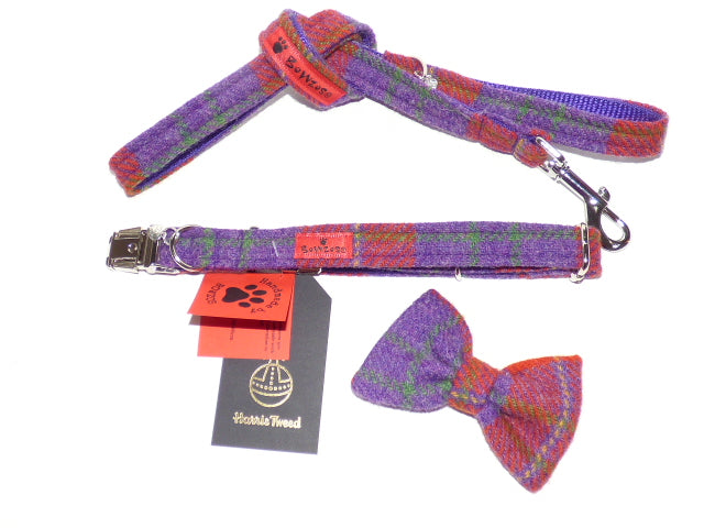 (Dunoon) Harris Tweed Bow Tie Dog Collar & Lead Set - Red/Purple Check - BOWZOS