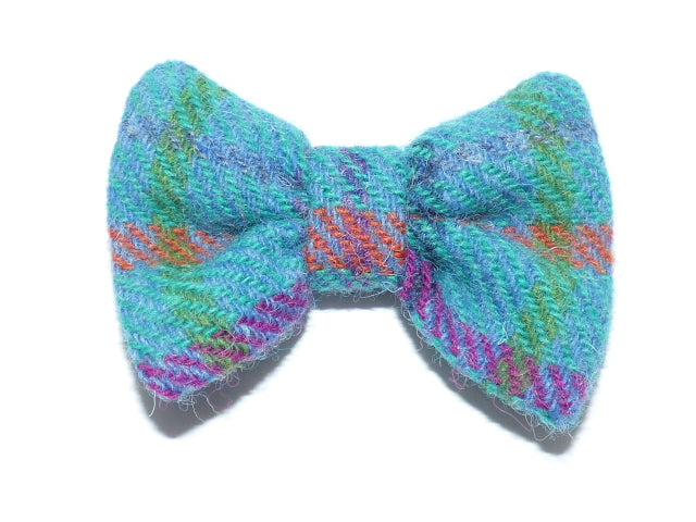 (Tiree) Bowzos Bow - Turquoise Harris Tweed Check - BOWZOS