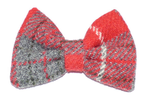(Brodie) Bowzos Bow - Harris Tweed Red/Grey Check - BOWZOS