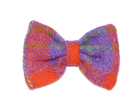 (Dunoon) Bowzos Bow - Harris Tweed Red/Purple Check - BOWZOS