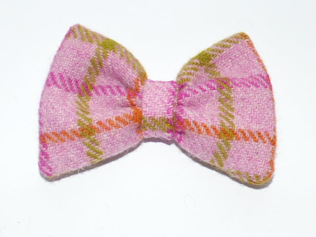 (Isla) Bowzos Bow - Harris Tweed Baby Pink Check - BOWZOS