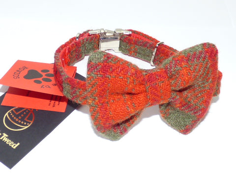 (Arran) Harris Tweed Bow Tie Dog Collar - Orange Check - BOWZOS