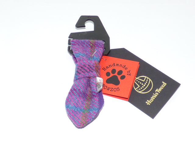(Jura) Bowzos Harris Tweed Dog Tie - Purple Check - BOWZOS