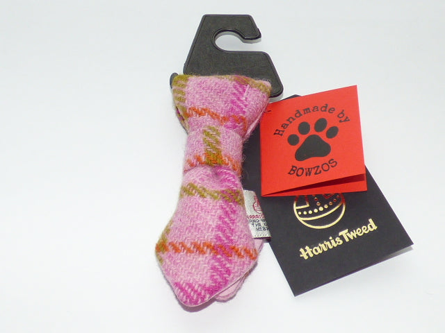 (Isla) Bowzos Harris Tweed Dog Tie - Baby Pink Check - BOWZOS