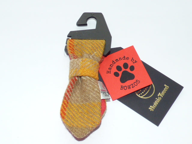 (Urquhart) Bowzos Harris Tweed Dog Tie - Mustard & Beige Check - BOWZOS