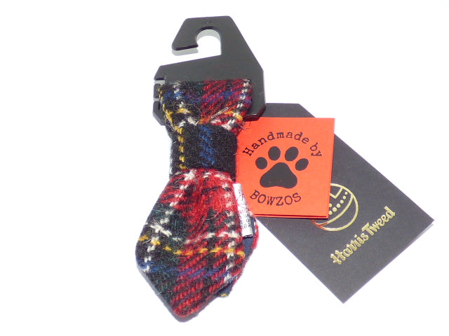 Bowzos Harris Tweed Dog Tie - Black Stewart Tartan - BOWZOS