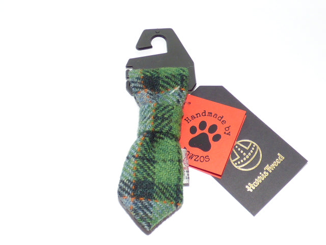 Harris Tweed Dog Tie - Grass Green Check - BOWZOS
