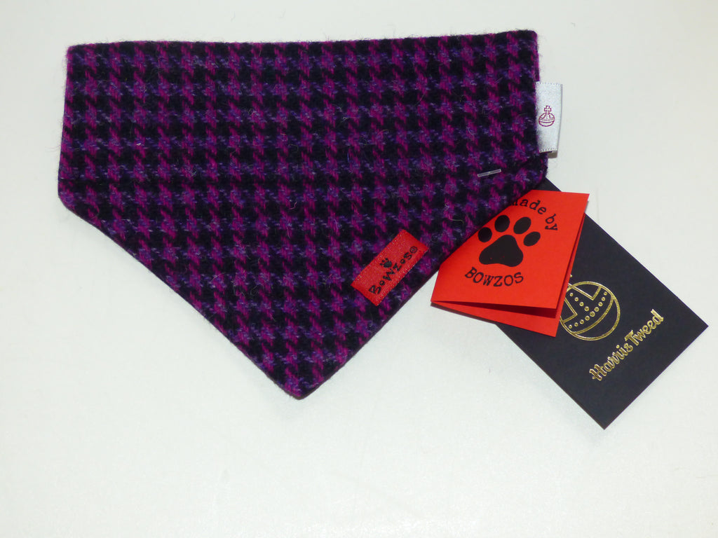 (Hetty) Bowzos Harris Tweed Bandana - Purple Houndstooth - BOWZOS