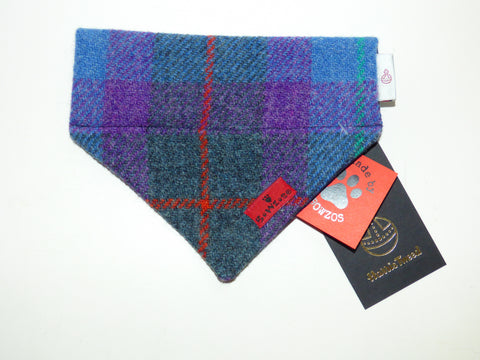 (Barra) Bowzos Harris Tweed Bandana - Berry Blue Check - BOWZOS