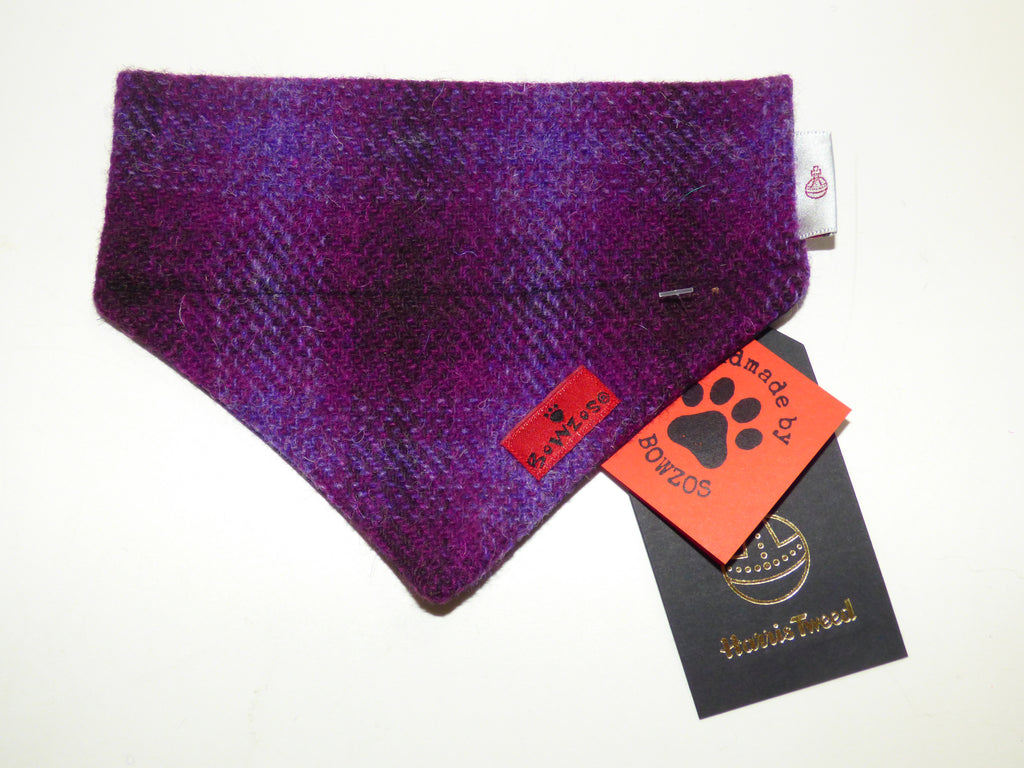 (Purple Heather) Bowzos Harris Tweed Bandana - Purple - BOWZOS