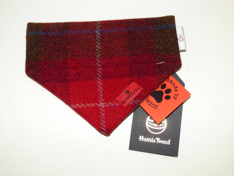 (Blair) Bowzos Harris Tweed Bandana -  Dark Red Check - BOWZOS