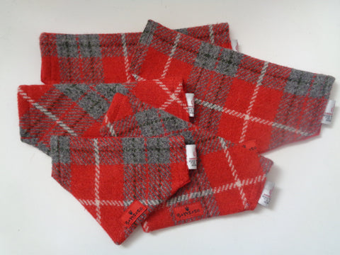 (Brodie) Bowzos Harris Tweed Bandana - Red/Grey Check - BOWZOS