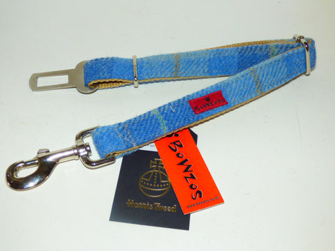 (Edinburgh) Harris Tweed Dog Seat Belt - Baby Blue - BOWZOS