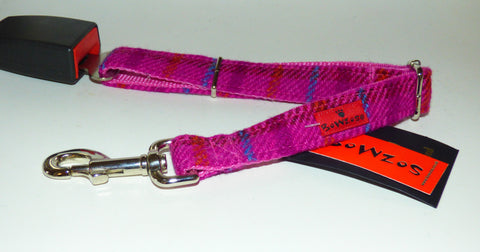 (Iona) Harris Tweed Dog Seat Belt - Cerise Pink - BOWZOS