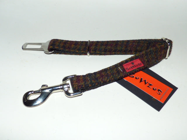 Harris Tweed Dog Seat Belt - Dark Brown Houndstooth - BOWZOS