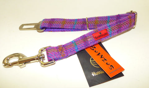 (Jura) Harris Tweed Dog Seat Belt - Purple Check - BOWZOS