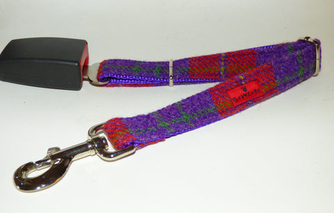 (Dunoon) Harris Tweed Dog Seat Belt - Red & Purple - BOWZOS