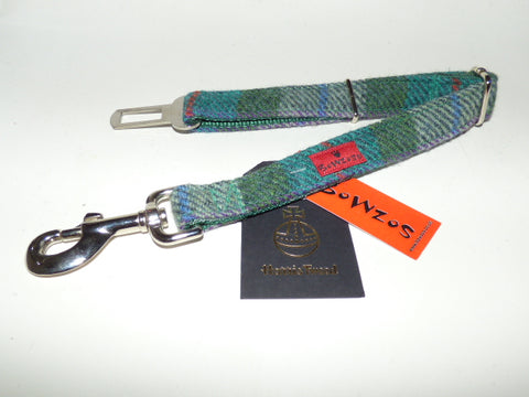 (Thistle) Harris Tweed Dog Seat Belt - Green Check - BOWZOS