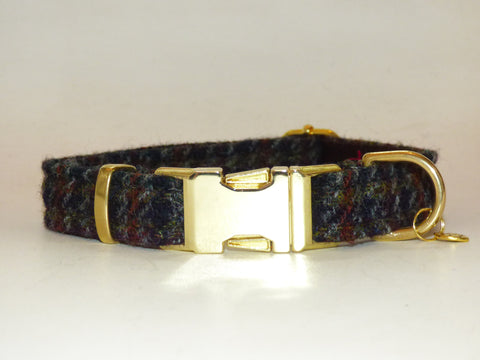 (Hector) Houndstooth Harris Tweed Dog Collar - BOWZOS
