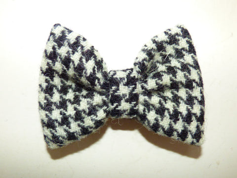 (Nessie) Harris Tweed Houndstooth Bowzos Bow - BOWZOS